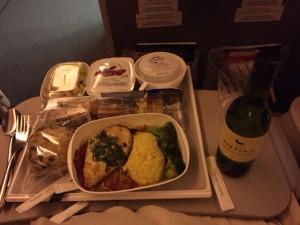 Vliegtuigmaaltijd mét wijn